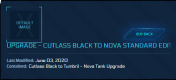 Cutlass black to Nova Tank ( CCU )