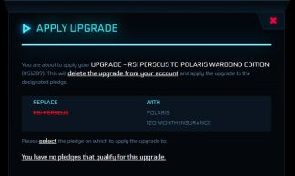 Upgrade - RSI Perseus to Polaris w/ insurance