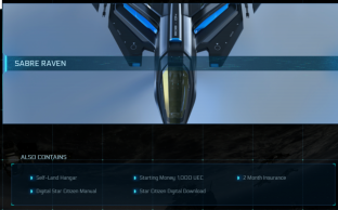 Aegis Sabre Raven Package(Not fixed, you need to contact CIG customer service to help you fix it)
