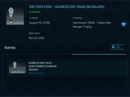 Gamescom 2946 Hangar Trophy