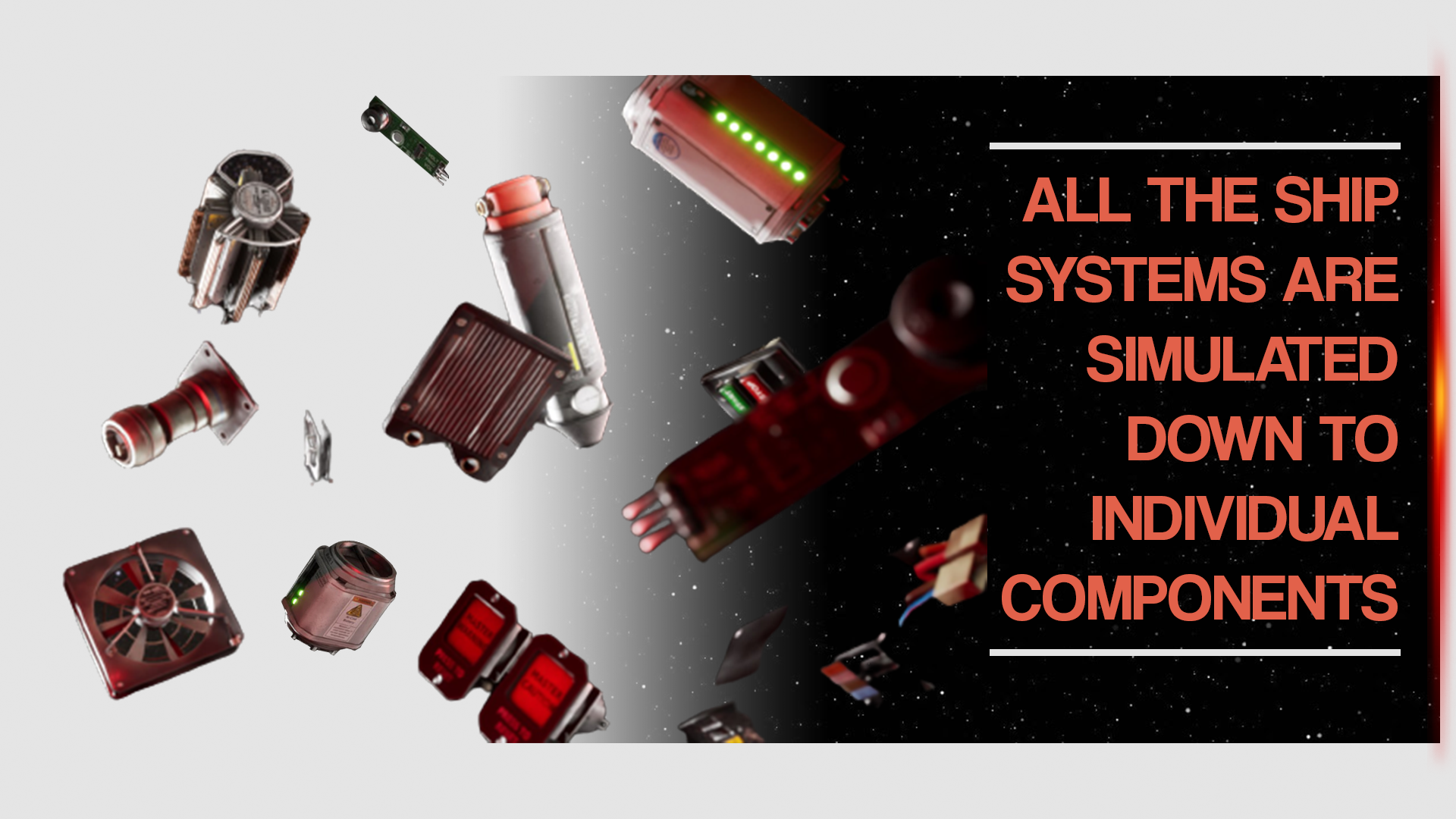 Individual Components floating in space